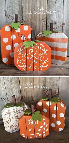 Adorable Set of 3 Fall Pumpkins Painted with Dots Stripes &