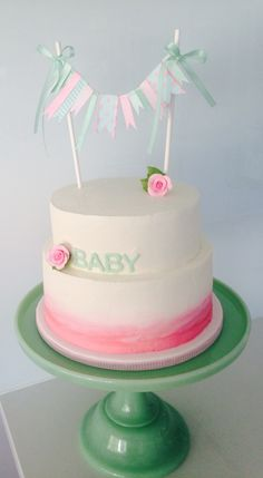 Mint and Pink Baby Shower Cake #Oldschooltealady
