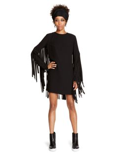 Fringe Detail Shift Dress , view more photos: http://darim24.com/fringe-detail-shift-dress-p381150 Georgette long sleeve crewneck shift dress. Features fringe detail at back and sleeves.