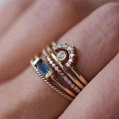 """159 Likes, 2 Comments - Leah Alexandra Jewelry (@leahalx_jewelry) on Instagram: """"I love a good stack recipe This one combines blue topaz, gold + rosegold, textures from the bead &…"""""""