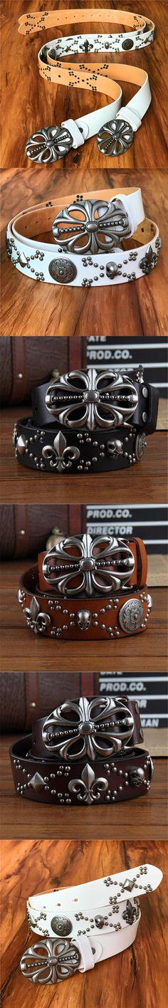 Skull Heavy Metal Belt Genuine Leather Men Belt Punk Belt Brand Buckle Cowboy Jeans Rivet Wide Belts  Cinturones Hombre MBT0173