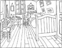 le Musée Van Gogh d'Amsterdam propose des activités pour enfants, dont ces coloriages, à partir d'œuvres célèbres, comme sa chambre à Arles...