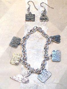 Ouija Board Charm Bracelet & Earrings by NorthCoastCottage on Etsy, $39.00