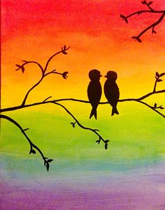 Bird silhouette rainbow painting. Give it as a gift or hang it up to add colour to a room