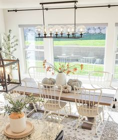 Designed by @whitefancyfarmhouse House Design, Home, Farmhouse Dining Room, Kitchen Design, Area Rugs, Pumpkin Decorating, Home Decor, Space Design, Table Decorations