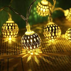 Solar Led String Lights Foneso 20led Ball Lights For Home Patio Graden Holidays Party Christmas Trees Indoor and Outdoor Decorations  Warm White *** Click image to review more details.