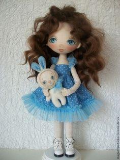 Коллекционные куклы ручной работы. Ярмарка Мастеров - ручная работа. Купить Кукла Сюзанна. Handmade. Голубой, для девочки, хлопок 100%