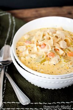 Creamy chicken noodle soup will change everything you thought you felt about regular chicken noodle soup. Get the recipe from Domestically Blissful.   - HouseBeautiful.com