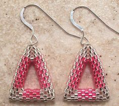 Pink and Silver Triangle Beadwork Earrings Free Shipping USA