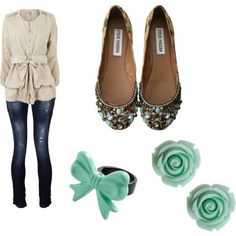 Cotton canvas jacket, turquoise acctents and steve madden embellished flats, created by chaliceanne on Polyvore