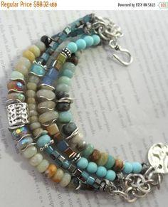 bracelet aquamarine bracelet dendrite opal bracelet blue