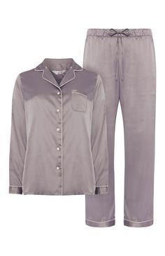Grey Lilac Satin Pyjama Set Cute Sleepwear, Lingerie Sleepwear, Nightwear, Plus Size Pajamas, Cute Pajamas, Satin Pyjama Set, Satin Pajamas, Estilo Kylie Jenner, Silk Pjs