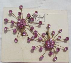 Vintage Coro Atomic Star Burst Pink Rhinestone Clip Earrings Orig Card #Coro #Cluster