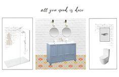 Composición 2D #moodboard #baño #bathroom #vintage #hisbalit #decotheco