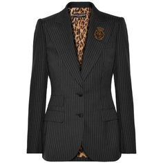Dolce & Gabbana Embellished pinstriped wool blazer (9.435 RON) ❤ liked on Polyvore featuring outerwear, jackets, blazers, charcoal, embroidered jacket, peaked lapel blazer, embellished jacket, embellished blazer and embroidered blazer