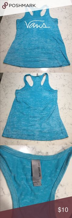 Vans Warped Tour Racerback Tank So this is a Bright Blue Racerback Tank that was bought at the Vans Warped Tour. It's says Vans on the front, but the tags say Next Level Apparel. So technically it's not the vans brand yet the tank says vans. Confusing I know, but still Super Cute! Great for Summer! 🌊💧💦🤙🏼 Never Worn. NWOT. Size Large. But it is super small. I would say it would fit a Medium better. 😘 Tops Tank Tops