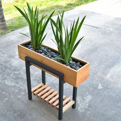 Enjoy this modern twotone raised planter in your home or office This planter will make a great addition at any entry, patio, and even living room At first glance, the legs might be confused for metal, but it& all wood - diy-home-decor Modern Plant Stand, Diy Plant Stand, Outdoor Plant Stands, Plant Box, House Plants Decor, Plant Decor, Raised Planter Boxes, Indoor Planter Box, Diy Planter Box