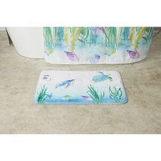 "20 ""x Ocean Bath Rugs and Mats Green / White - Saturday Knight Ltd. Unisex Bathroom, Ocean Bathroom, Bathroom Rugs, Shower Liner, Bath Or Shower, Mat Leave, Pink Shower Curtains, Blue Bath Mat, Watercolor Ocean"