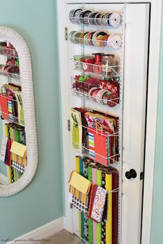 over the door gift wrap storage and organization Organizing Hacks, Home Organization Hacks, Organizing Your Home, Closet Organization, Wrapping Paper Organization, Diy Hacks, Gift Wrap Storage, Craft Storage, Fabric Storage