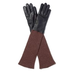 Madewell, Long View leather and knit gloves