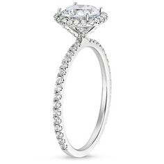 18K White Gold Waverly Diamond Ring, side view