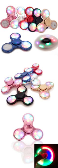 3 LED Rainbow Lights Hand Spinner Tri Fidget EDC Toy Focus ADHD Autism Rose Stress Reliever