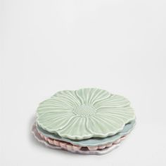 Ceramic flower-shaped coasters (set of 4)