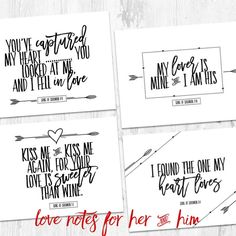 Send love notes to each other using these beautiful note cards.  Use one note as part of your gift for Valentine's Day and the others to give throughout the year. This pack includes ten 4x6 flat note cards. Each note for her is pressed in gold foil. Each note for him is printed in black and white. Back is blank. This pack includes the pictures from both