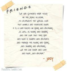 Joey's wedding speech for Monica and Chandler :) Friends Episodes, Friends Moments, Friends Series, Friends Show, Friends Forever, Friends Theme Song, Friends Trivia, Joey Friends, Friends Cast