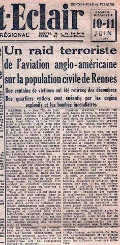 De la Syrie à la Normandie en passant par l'Espagne, par Jean LEVY 6 Octobre 2016 Rennes bombardée en juin par l'US Air Force et libérée en juillet 44... La bataille d'Alep et ses antécédants historiques De la Syrie à la Normandie en passant par l'Espagne...