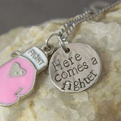 Pink Boxing Glove Here comes a fighter Necklace by WireNWhimsy