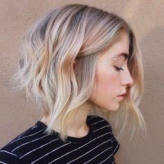 Blonde Textured A Line Bob Beachy Waves