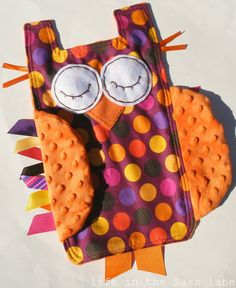 Woodland OWL Ribbon Tag Baby Blanket in Mod Magenta Polka Dots with Orange Minky Blankie Lovey Lovie Baby Gift