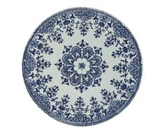 Enamelled earthenware plate painted in blue camaieu, with border and central ornament in rayonnant style: French, Rouen, 1700 - 1750