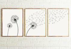 Set of 3 Dandelion Prints, Black and white Minimalist Prints, Dandelion Prints Wall Art, Modern Wall Art. Set of 3 Dandelion Prints, Black and whi Bedroom Minimalist, Minimalist Art, Dandelion Wall Art, Black And White Wall Art, Fashion Wall Art, Living Room Art, Modern Wall Art, Modern Prints, Printable Wall Art