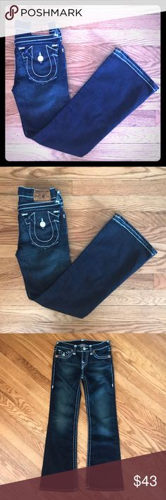 "GIRLS TRUE RELIGION JEANS GIRLS TRUE RELIGION JEANS in a size 8. New condition. I honestly don't think my daughter ever wore these before she outgrew them!  Measurements-inseam 25""                            Waist -12"" Comes with free surprise! True Religion Bottoms Jeans"