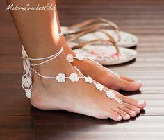 Beach wedding FLOWER Barefoot Sandals in by ModernCrochetClub