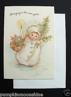 F109-Unused-Mary-Hamilton-Xmas-Greeting-Card-Girl-with-Holiday-Gifts-in-Hand