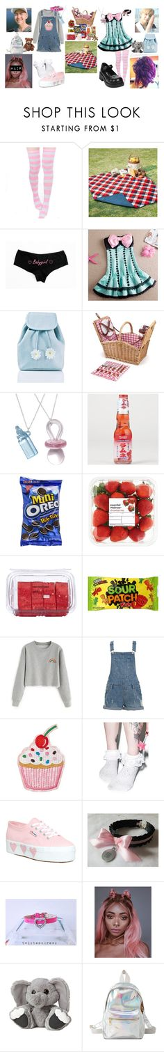 """""""little!KristAnna- picnic double date"""" by dovelytaehyung ❤ liked on Polyvore featuring Madison Park, COS, Sugarbaby, Demonia, Picnic Time, Fuego, Lindt, Forever 21, Leg Avenue and Superga"""