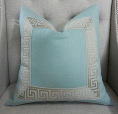 aqua linen pillow with attached greek key trim