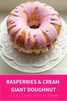This Raspberries Cream Giant Doughnut dessert has the lightest of sponges, sandwiched together with fresh raspberries, whipped cream and glacé icing on top Good Food, Yummy Food, Tasty, Glace Icing, Savoury Baking, Fresh Bread, Raspberries, Doughnuts, Afternoon Tea