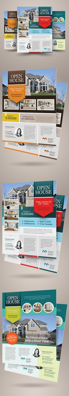 Real Estate Open House Flyers are design templates created for sale on Graphic River. More info of the templates and how to get the template sourcefiles can be found on this page: http://graphicriver.net/item/real-estate-open-house-flyers/6084072?r=kinzi…
