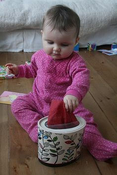 Material box for babies- good idea for when the baby is up during school time!
