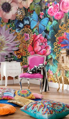 Loving this Brewster Home Fashions Melli Mello Kevena Wall Mural on Animal Print Wallpaper, Bold Wallpaper, Wallpaper Roll, Photo Wallpaper, Bright Coloured Wallpaper, Floral Print Wallpaper, Feature Wallpaper, Botanical Wallpaper, Deco Baroque