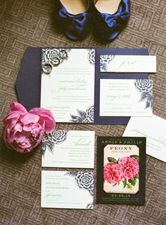 Navy and Pink Peony Wedding Stationery | photography by http://www.karenhill.com/
