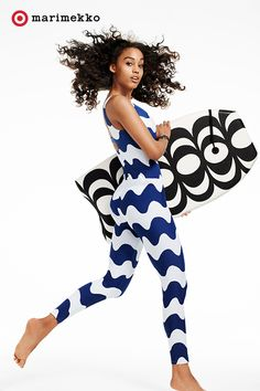 Dive into the wonderful world of prints with this Marimekko for Target Women's Long-Sleeve Rashguard & Swim Legging in the Lokki print. And you can't miss the Body Board in the Kaivo print. The swimwear has UV50+ sun protection and the body board comes with a wrist leash. Now all you need is H2O. Add print to your spring/summer plans starting April 17th. Click to peruse all of the pieces within the collection lookbook featuring fashion, home, outdoor and more.
