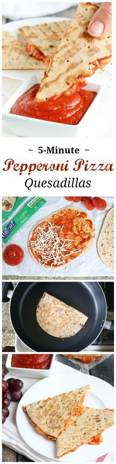This easy Pepperoni Pizza Quesadilla recipe takes just minutes! With fiber-rich whole grains and lots of protein, it's perfect as a quick meal or a hearty power snack! {ad}   www.TwoHealthyKitchens.com