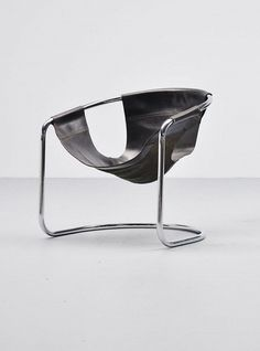 Clemens Claessen - Chromed Metal and Leather Lounge Chair, 1960s.