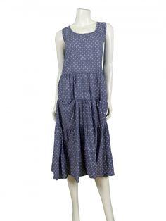 Damen Kleid mit Punkten, blau von www.meinkleidchen.de