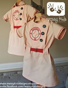 Vintage Inspired Baseball Dress with Belt and Custom Patch Details YOU Pick the Dress Colors by Messy Kids Designs